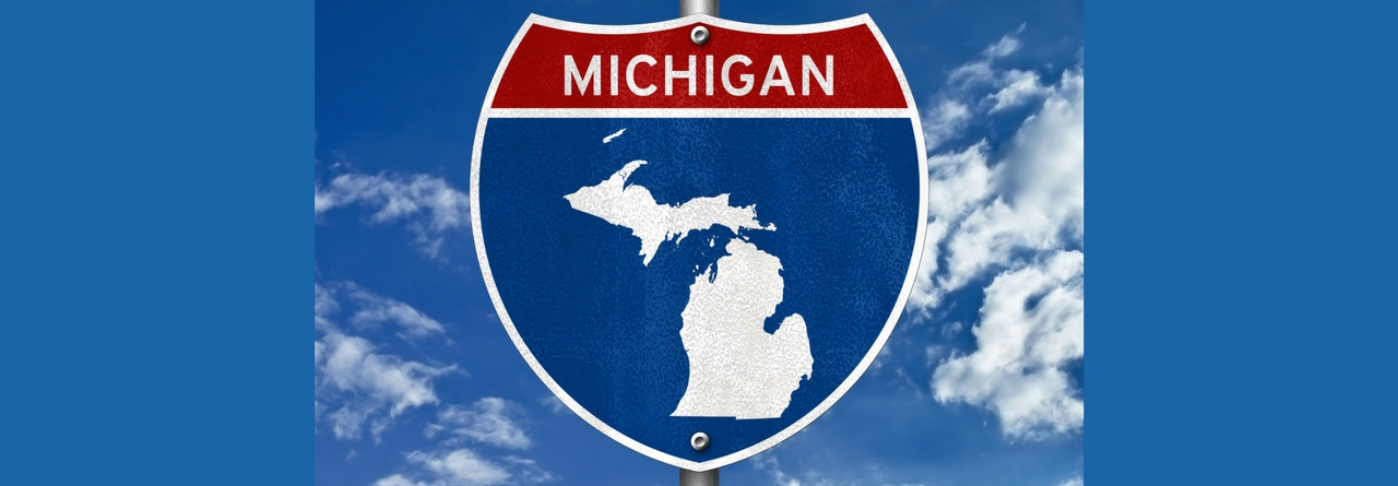 Sign of Michigan Where Bay Harbor is Located