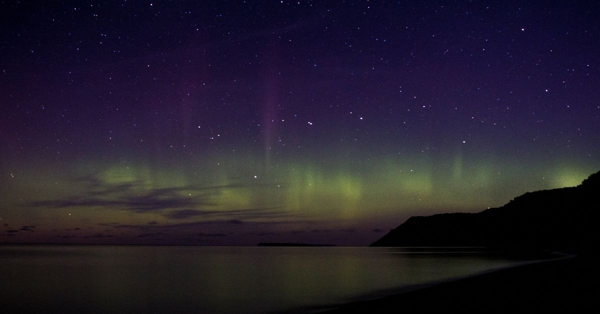 view of northern light in michigan